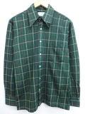 M★古着 長袖 シャツ 70年代 USA製 緑 グリーン チェック 19jan21 中古 メンズ トップス