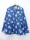 L★古着 長袖 シャツ 70年代 花 大きいサイズ 紺 ネイビー 19sep23 中古 メンズ トップス
