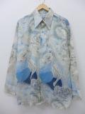 XL★古着 長袖 シャツ 70年代 男女 花 薄ベージュ他 カーキ 【spe】 19sep23 中古 メンズ トップス