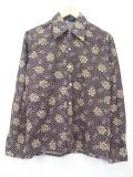 S★古着 長袖 シャツ 70年代 花 こげ茶 ブラウン 19sep23 中古 メンズ トップス
