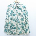 L★古着 長袖 シャツ 70年代 70s 花 植物 生成り 20jan23 中古 メンズ トップス