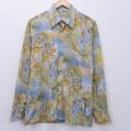 M★古着 長袖 ビンテージ シャツ 70年代 70s 柱 薄茶系他 ブラウン 20feb03 中古 メンズ トップス