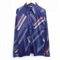 L★古着 長袖 シャツ 70年代 70s 花 USA製 紺 ネイビー 20aug24 中古 メンズ トップス