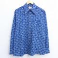 XL★古着 長袖 シャツ 70年代 70s ベルト 総柄 青 ブルー 20aug24 中古 メンズ トップス