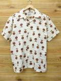 L★古着 半袖 シャツ 70年代 こげ茶 ブラウン ドット 18mar19 中古 メンズ トップス