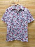 S★古着 半袖 シャツ 70年代 ジャンセン USA製 紺他 ネイビー 18jun06 中古 メンズ トップス