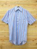 M★古着 半袖 シャツ 70年代 水色 ストライプ 18jul18 中古 メンズ トップス