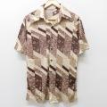 S★古着 半袖 シャツ 70年代 70s 花 薄ベージュ カーキ 21apr09 中古 メンズ トップス