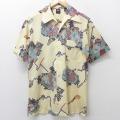 M★古着 半袖 シャツ 70年代 70s 総柄 薄ベージュ カーキ 21apr09 中古 メンズ トップス