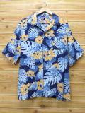 XL★古着 ハワイアン シャツ ピューリタン ハイビスカス レーヨン 大きいサイズ 紺 ネイビー 18apr06 中古 メンズ 半袖 アロハ トップス