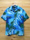 XL★古着 ハワイアン シャツ ケニントン ヤシの木 大きいサイズ 青 ブルー 18apr06 中古 メンズ 半袖 アロハ トップス