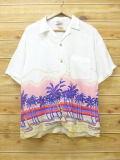 M★古着 ハワイアン シャツ 80年代 ヤシの木 レーヨン 白 ホワイト 18apr12 中古 メンズ 半袖 アロハ トップス