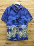 M★古着 ハワイアン シャツ 90年代 ヤシの木 バイク ハワイ製 紺 ネイビー 18apr17 中古 メンズ 半袖 アロハ トップス