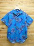 L★古着 ハワイアン シャツ 80年代 オーシャンパシフィック OP ヤシの木 USA製 水色 18may14 中古 メンズ 半袖 アロハ トップス