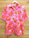 L★古着 ハワイアン シャツ 70年代 花 ハワイ製 ピンク 【spe】 18jun28 中古 メンズ 半袖 アロハ トップス
