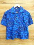 M★古着 ハワイアン シャツ 70年代 ハイビスカス ヤシの木 魚 ハワイ製 青 ブルー 18jun28 中古 メンズ 半袖 アロハ トップス