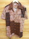 M★古着 ハワイアン シャツ 70年代 ハワイ製 茶 ブラウン 18jun28 中古 メンズ 半袖 アロハ トップス