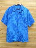 XL★古着 ハワイアン シャツ 花 大きいサイズ ハワイ製 青 ブルー 18jul12 中古 メンズ 半袖 アロハ トップス