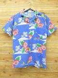 S★古着 ハワイアン シャツ 80年代 花 USA製 青 ブルー 18jul19 中古 メンズ 半袖 アロハ トップス