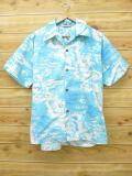 XL★古着 ハワイアン シャツ 80年代 ハワイ島 水色 18jul19 中古 メンズ 半袖 アロハ トップス