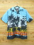 M★古着 ハワイアン シャツ 80年代 ヤシの木 水色 18jul19 中古 メンズ 半袖 アロハ トップス