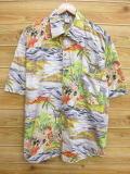 XL★古着 ハワイアン シャツ 90年代 島 女性 大きいサイズ グレー他 18aug02 中古 メンズ 半袖 アロハ トップス
