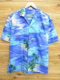 XL★古着 ハワイアン シャツ 80年代 ヨット ヤシの木 ハワイ製 水色 18aug02 中古 メンズ 半袖 アロハ トップス