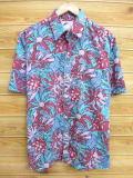 XL★古着 ハワイアン シャツ 90年代 花 ハワイ製 青緑系他 18aug02 中古 メンズ 半袖 アロハ トップス