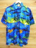 XL★古着 ハワイアン シャツ 花 ヤシの木 ヨット 青 ブルー 18aug02 中古 メンズ 半袖 アロハ トップス