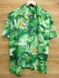 L★古着 ハワイアン シャツ ヨット ヤシの木 緑 グリーン 18aug02 中古 メンズ 半袖 アロハ トップス