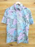 L★古着 ハワイアン トップス 90年代 葉 ハワイ製 水色他 18aug02 中古 メンズ 半袖 アロハ