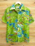 XL★古着 ハワイアン シャツ 80年代 鳥 ヤシの木 黄緑系 18aug02 中古 メンズ 半袖 アロハ トップス