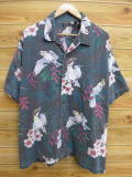 XL★古着 ハワイアン シャツ ハイビスカス 鳥 大きいサイズ 黒 ブラック 18aug02 中古 メンズ 半袖 アロハ トップス