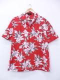 L★古着 ハワイアン シャツ 花 ハワイ製 赤 レッド 19mar29 中古 メンズ 半袖 アロハ トップス