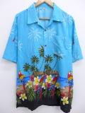 L★古着 ハワイアン シャツ 鳥 ハイビスカス ヤシの木 水色 19apr09 中古 メンズ 半袖 アロハ トップス