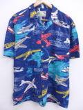 L★古着 ハワイアン シャツ 90年代 飛行機 レーヨン ハワイ製 紺 ネイビー 【spe】 19apr09 中古 メンズ 半袖 アロハ トップス