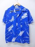 L★古着 ビンテージ ハワイアン シャツ 80年代 青 ブルー 19may28 中古 メンズ 半袖 アロハ トップス
