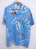 L★古着 ハワイアン シャツ 90年代 ヤシの木 パイナップル レーヨン 水色 19jun17 中古 メンズ 半袖 アロハ トップス