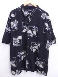 XL★古着 ハワイアン シャツ ピューリタン 葉 レーヨン 大きいサイズ 黒 ブラック 19jun17 中古 メンズ 半袖 アロハ トップス