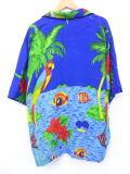XL★古着 ハワイアン シャツ オウム ヤシの木 熱帯魚 レーヨン 青他 ブルー 19jun20 中古 メンズ 半袖 アロハ トップス