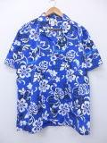 XL★古着 ハワイアン シャツ ハイビスカス ハワイ製 青 ブルー 19jun20 中古 メンズ 半袖 アロハ トップス