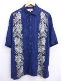 XL★古着 ハワイアン シャツ 葉 レーヨン 大きいサイズ 紺 ネイビー 19jun20 中古 メンズ 半袖 アロハ トップス
