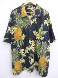 XL★古着 ハワイアン シャツ トミーバハマ 花 パイナップル シルク 大きいサイズ 黒 ブラック 19jun20 中古 メンズ 半袖 アロハ トップス