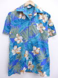 S★古着 ハワイアン シャツ 90年代 ハイビスカス 葉 ハワイ製 青緑系 19jul02 中古 メンズ 半袖 アロハ トップス