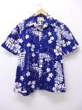 L★古着 ビンテージ ハワイアン シャツ 70年代 ウイマイカイ 花 ハワイ製 紺 ネイビー 19jul17 中古 メンズ 半袖 アロハ トップス