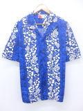 XL★古着 ハワイアン シャツ ハイビスカス 大きいサイズ 青 ブルー 19aug08 中古 メンズ 半袖 アロハ トップス