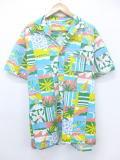 XL★古着 ハワイアン シャツ ヤシの木 サーフィン 大きいサイズ 水色他 19aug08 中古 メンズ 半袖 アロハ トップス
