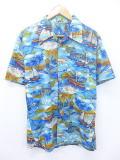 L★古着 ハワイアン シャツ 80年代 ヤシの木 船 水色 19aug08 中古 メンズ 半袖 アロハ トップス
