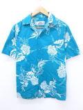 M★古着 ハワイアン シャツ 90年代 花 USA製 青緑 19aug08 中古 メンズ 半袖 アロハ トップス