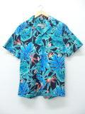 M★古着 ハワイアン シャツ 90年代 花 ハワイ製 青緑 19aug08 中古 メンズ 半袖 アロハ トップス